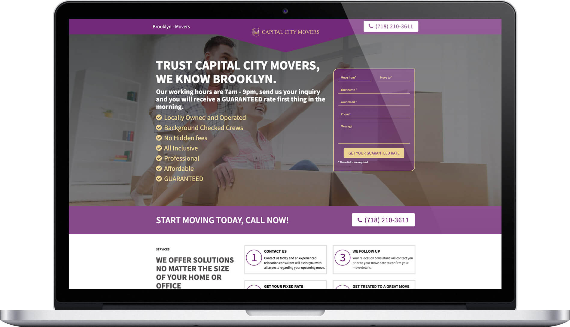 Moving company landing pages