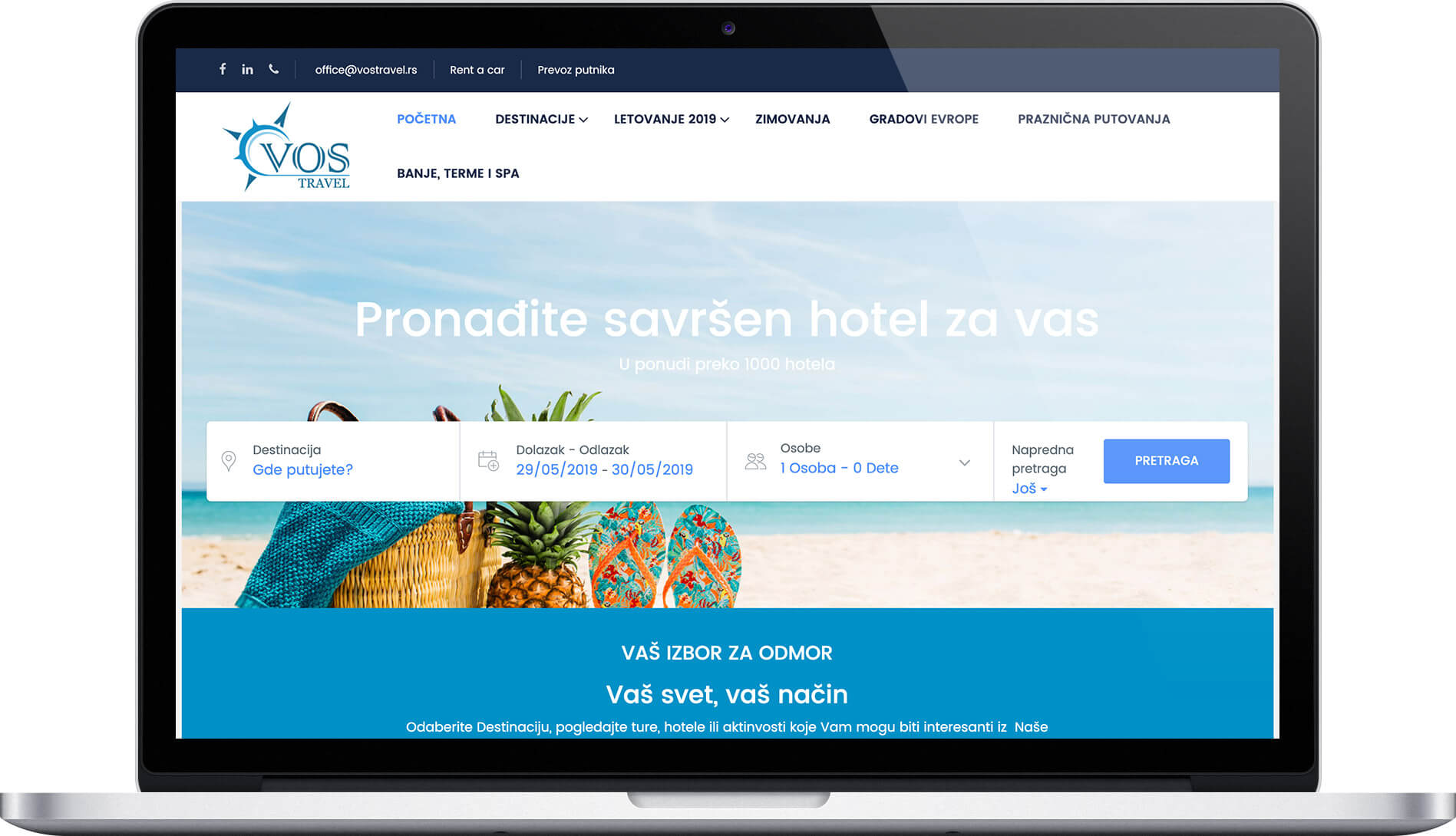 Vos travel agency website